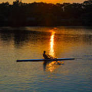 Rowing At Sunset 2 Poster