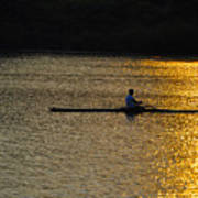 Rowing At Sunset Poster