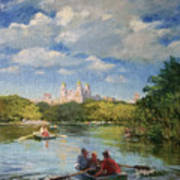 Rowing On The Lake, Central Park Poster