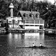 Rowing Past Turtle Rock Light House In Black And White Poster