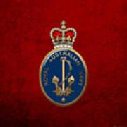 Royal Australian Navy -  R A N  Badge Over Red Velvet Poster