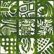 Rubbing Patterns Linocut Poster