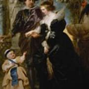 Rubens His Wife Helena Fourment 16141673 And Their Son Frans 16331678 Poster