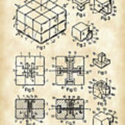 Rubik's Cube Patent 1983 - Vintage Poster