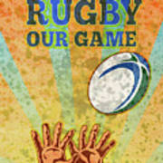 Rugby Player Hands Catching Ball Poster by Aloysius Patrimonio