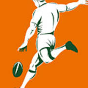Rugby Player Kicking Poster by Aloysius Patrimonio