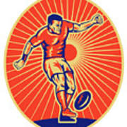 Rugby Player Kicking Ball Woodcut Poster