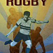 Rugby Player Kicking The Ball Poster by Aloysius Patrimonio
