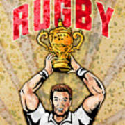 Rugby Player Raising Championship World Cup Trophy Poster