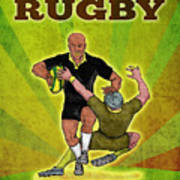 Rugby Player Running Attacking With Ball Poster