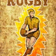 Rugby Player Running Passing Ball Poster