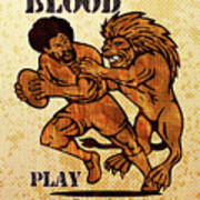 Rugby Player Running With Ball Attack By Lion Poster by Aloysius Patrimonio