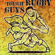 Rugby Player Running With Ball Attack By Shark Poster