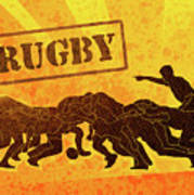 Rugby Players Engaged In Scrum  Poster by Aloysius Patrimonio