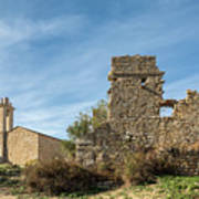 Ruined Building And Restored Church At Occi In Corsica Poster