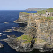 Ruins Of Dunluce Castle On The Sea Cliffs Of Northern Ireland Poster