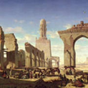 Ruins Of The Mosque Of The Caliph El Haken In Cairo Poster by Prosper Georges Antoine Marilhat