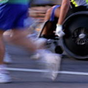 Runners And Disabled People In Wheelchairs Racing Together Poster by Sami Sarkis