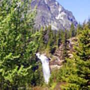 Running Eagle Falls Glacier National Park Poster