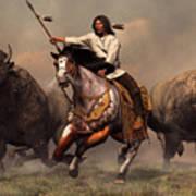 Running With Buffalo Poster by Daniel Eskridge
