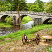 Rural France With Old Stone Arched Bridge Poster