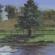Rural Landscape Painting Of Bauer Farm Poster
