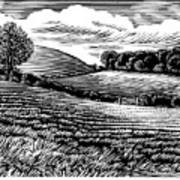 Rural Landscape, Woodcut Poster by Gary Hincks