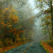Rural Road In North Carolina With Autumn Colors Poster