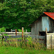 Rural Serenity - Red Roof Barn Rustic Country Rural Poster