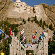 Rushmore State Flags Poster