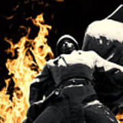 Russian Soldier Statue In Snow And Fire Poster