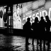 Russian Teens At Night Outside A Shopping Center Poster