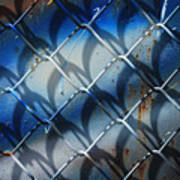 Rusted Fence With Blue Paint Poster