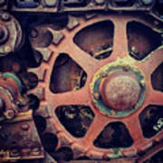 Rusted Tractor Wheel Poster