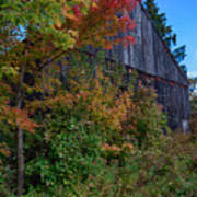 Rustic Barn Above The Fall Colors Poster