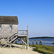 Rustic Boathouse On The Beach. Poster