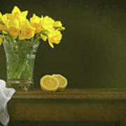 Rustic Still Life With Daffodils Poster