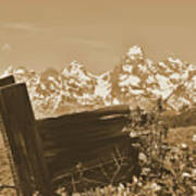 Rustic View Of Grand Teton Poster
