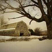 Rustic White Barn In Winter - Boone N.c.  Poster