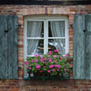 Rustic Window And Red Bricks Wall Poster by Yair Karelic