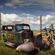 Rusty Auto Wreck Out West Poster