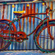 Rusty Bike With Lights Poster