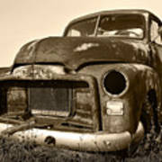 Rusty But Trusty Old Gmc Pickup Truck - Sepia Poster by Gordon Dean II