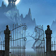 Rusty Gate And A Spooky Dark Castle Poster