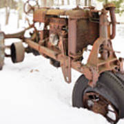 Rusty Old Steel Wheel Tractor In The Snow Tilt Shift Poster