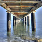 Rusty Pier  On The Ocean  From Below Poster