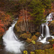Ryuzu Falls Near Nikko In Japan In Autumn Poster