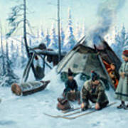 Saami Family At The Hut Poster