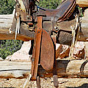 Saddle On Ranch Fence Poster