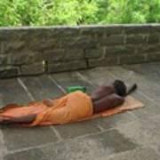 Sadhu Sleeping On Arunachala India Poster